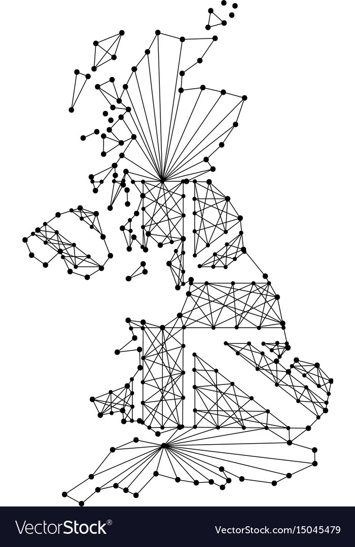 Map of united kingdom from polygonal black lines vector image