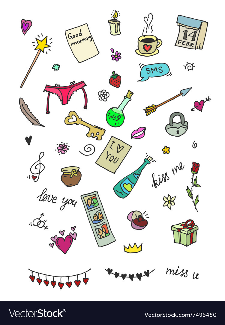 Set of cute icons for Valentine day vector image