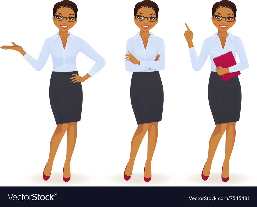 Elegant business woman in different poses vector image