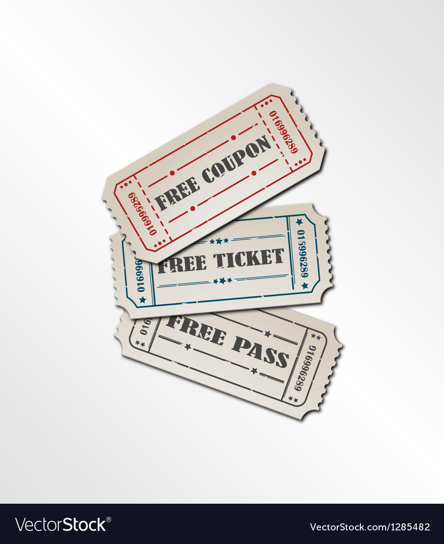Collection vintage free ticket vector image