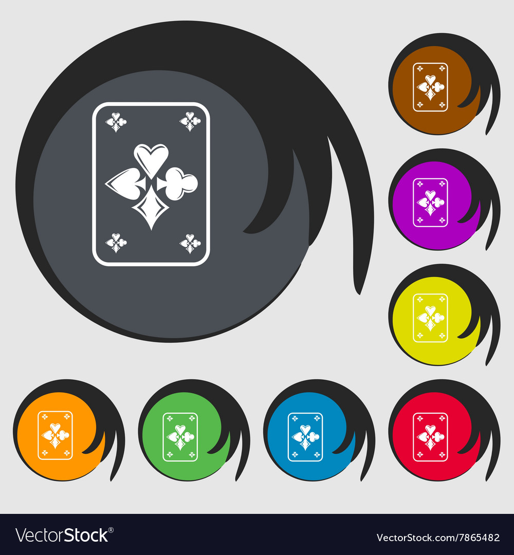 Game cards icon Symbols on eight colored buttons vector image