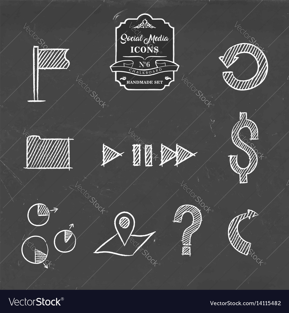 Social media and business hand drawn icon set vector image