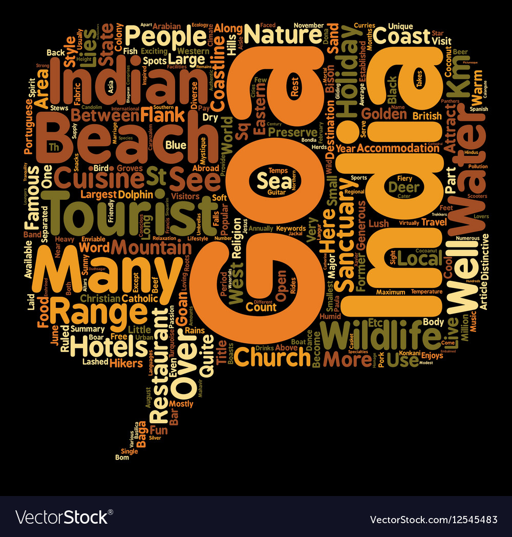 Goa Holidays text background wordcloud concept vector image