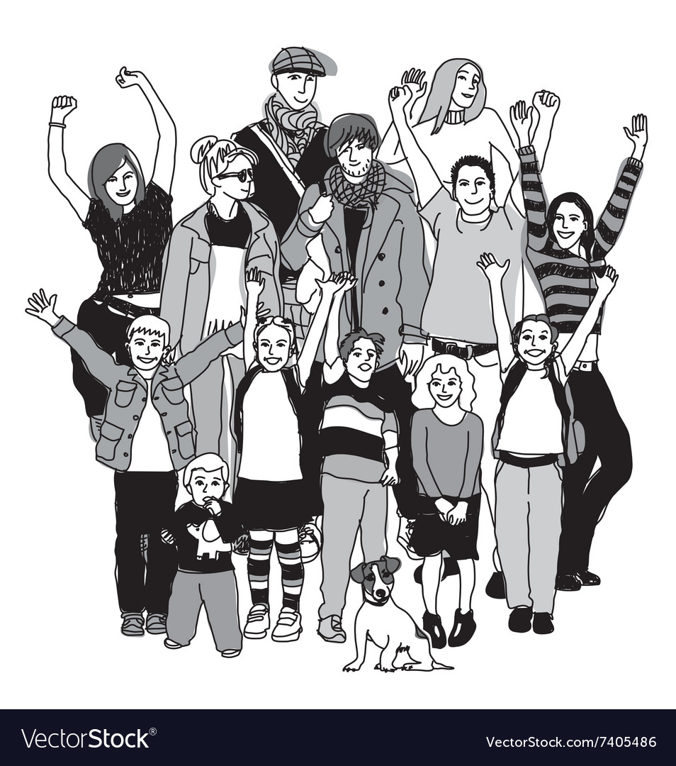 Big happy family group standing isolate black and vector image