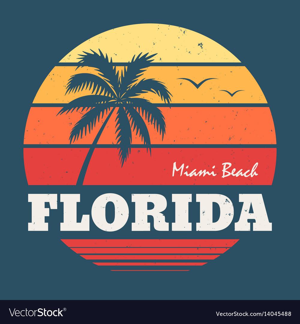 Florida miami beach tee print vector image