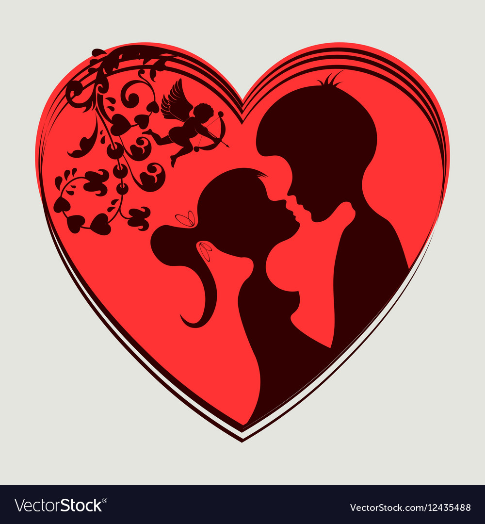Red hearttwo lovers vector image