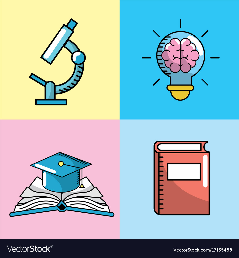 Set school utensils to education knowledge vector image voltagebd Images