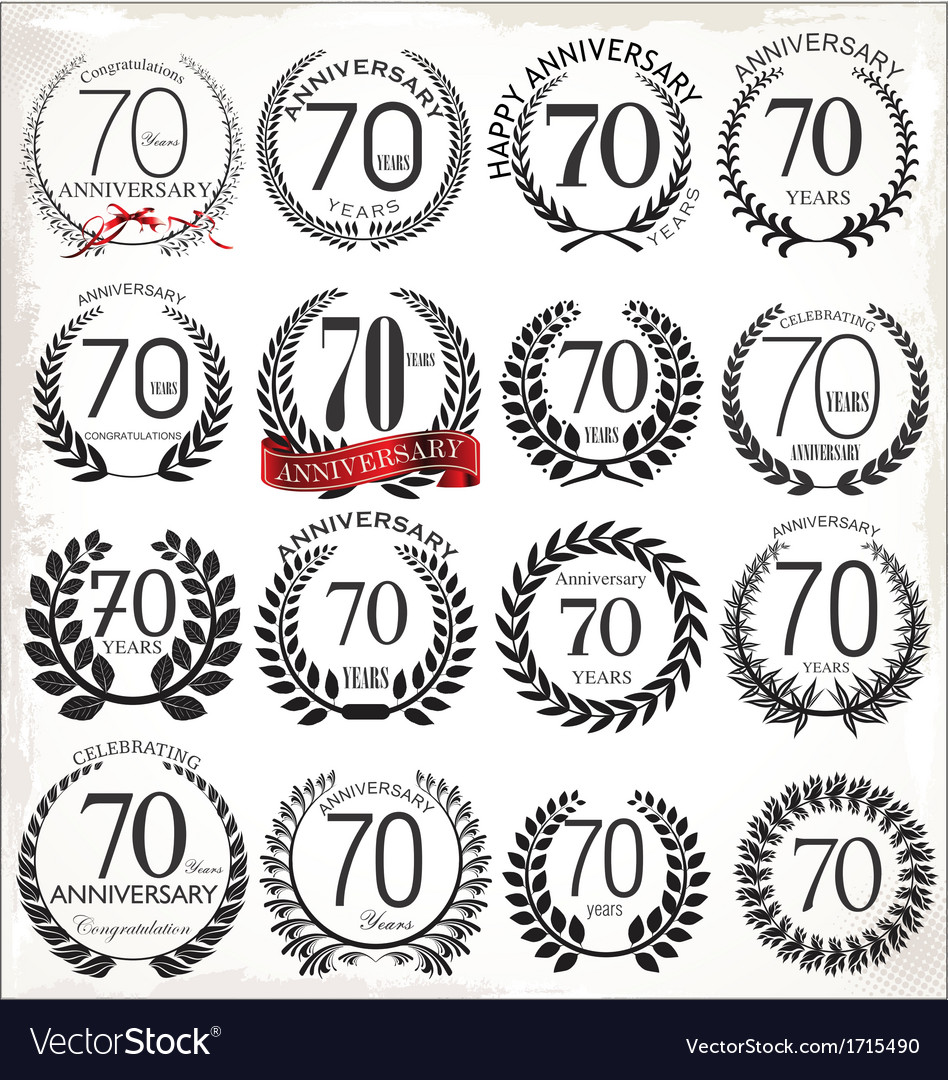 70 years anniversary laurel wreaths vector image