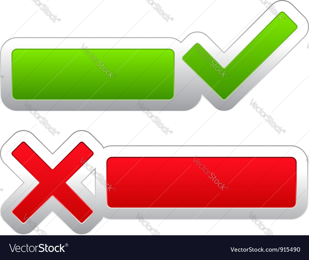 Check and cross symbols vector image