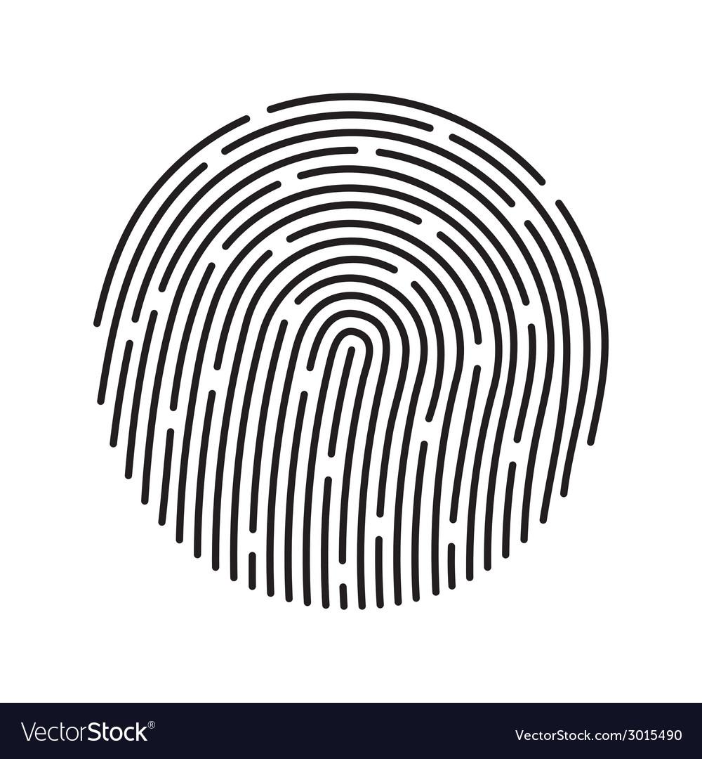 Fingerprint identification system black symbol vector image