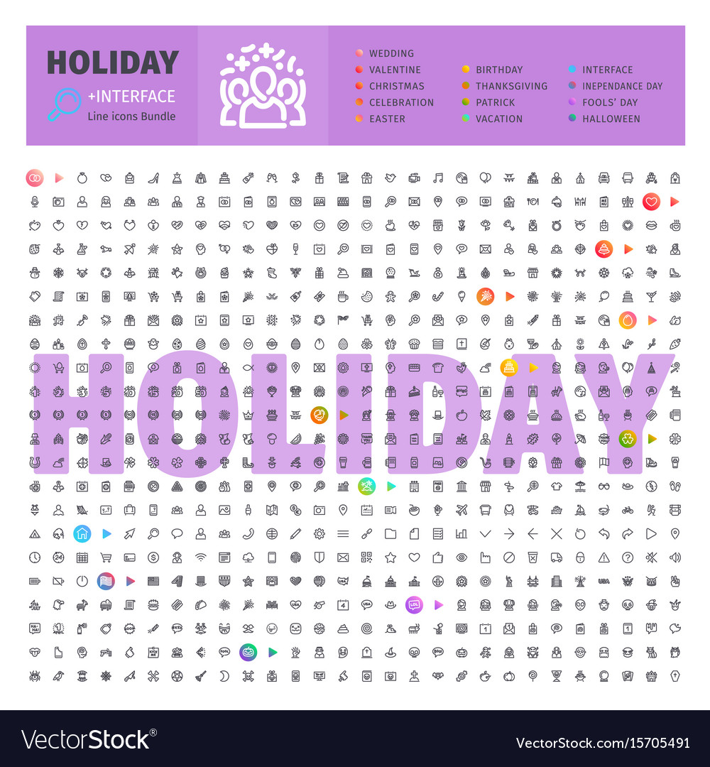 Holyday thematic collection of line icons vector image