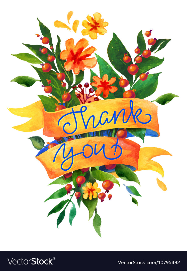 Thank you watercolor flower card vector image