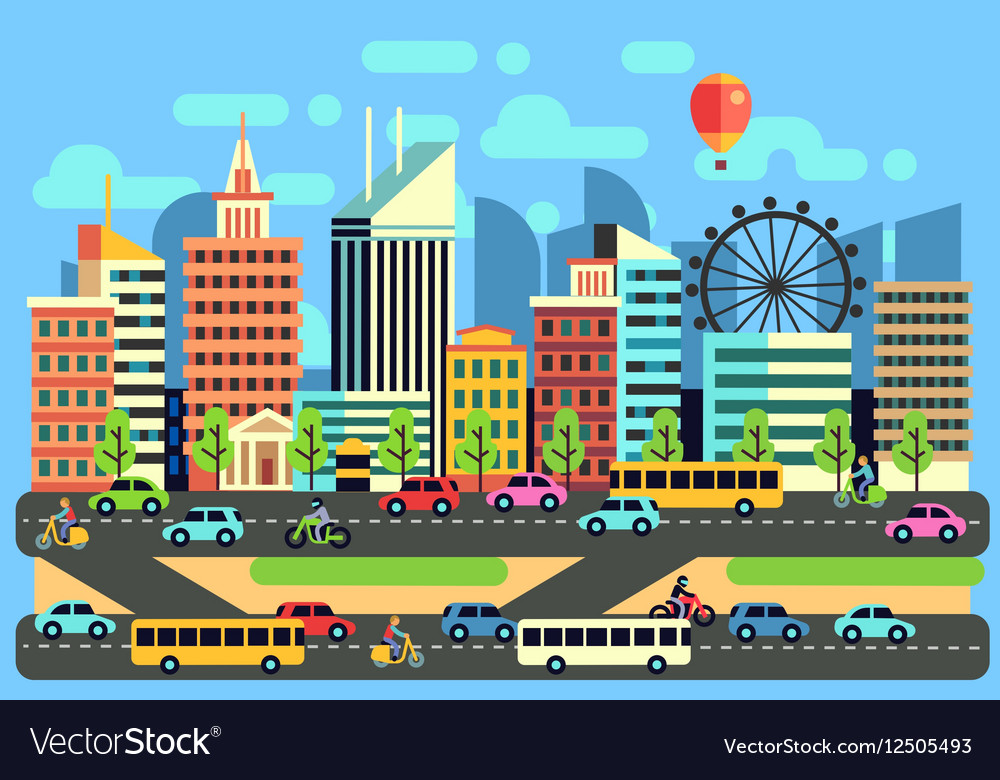 Urban city traffic landscape with moving vector image