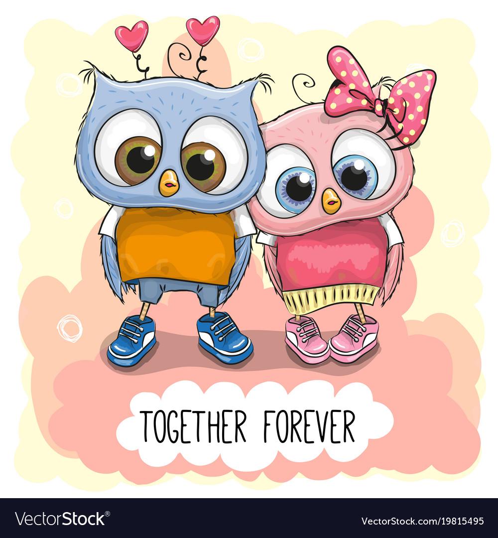 Cute cartoon owls boy and girl royalty free vector image cute cartoon owls boy and girl vector image voltagebd Images