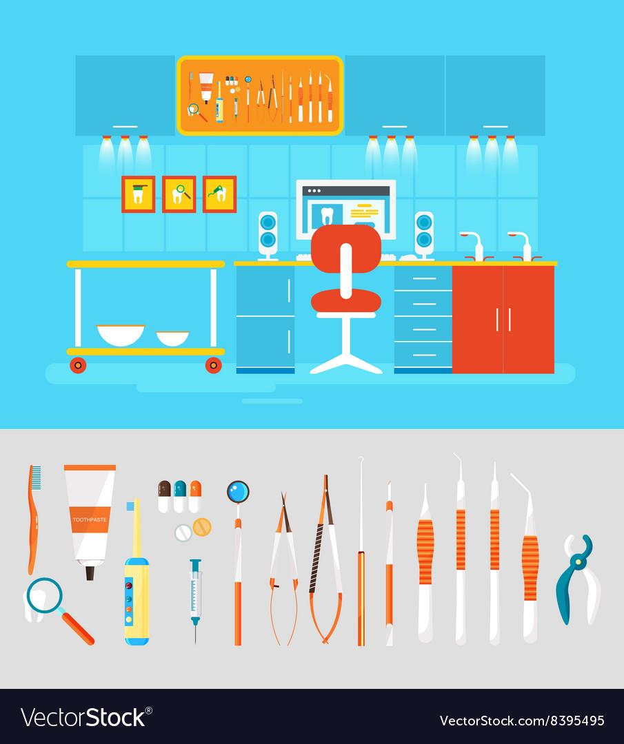 Dental office PC set instruments vector image