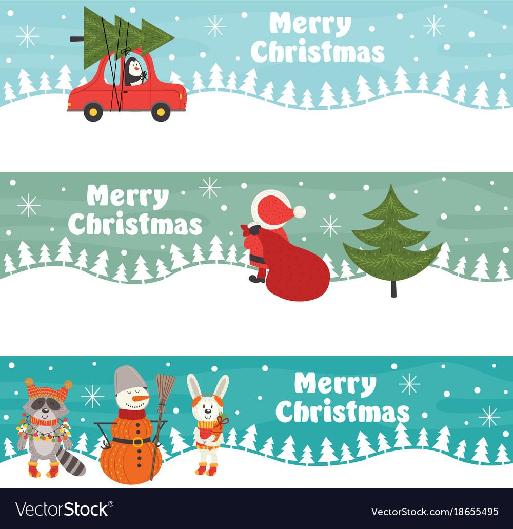 Christmas Banners Part - 44: Set Of Horizontal Christmas Banners Vector Image