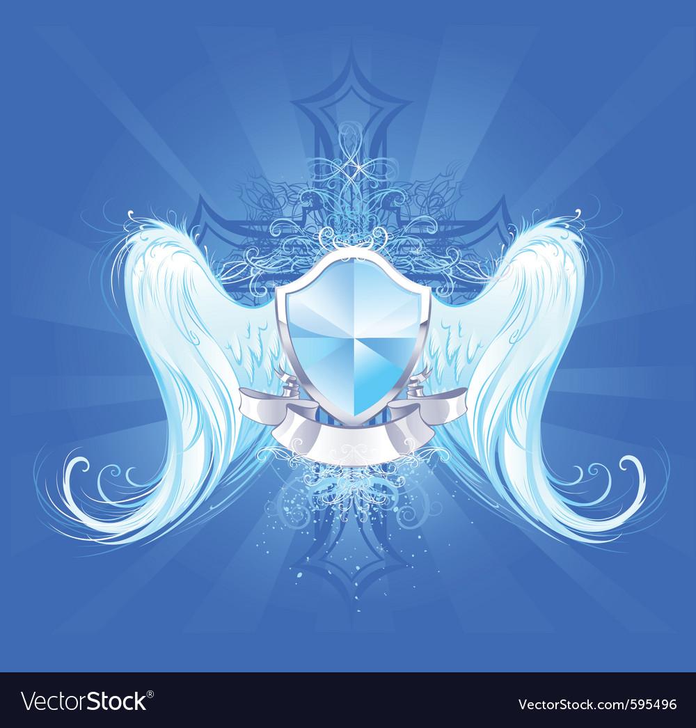 Crystal shield vector image