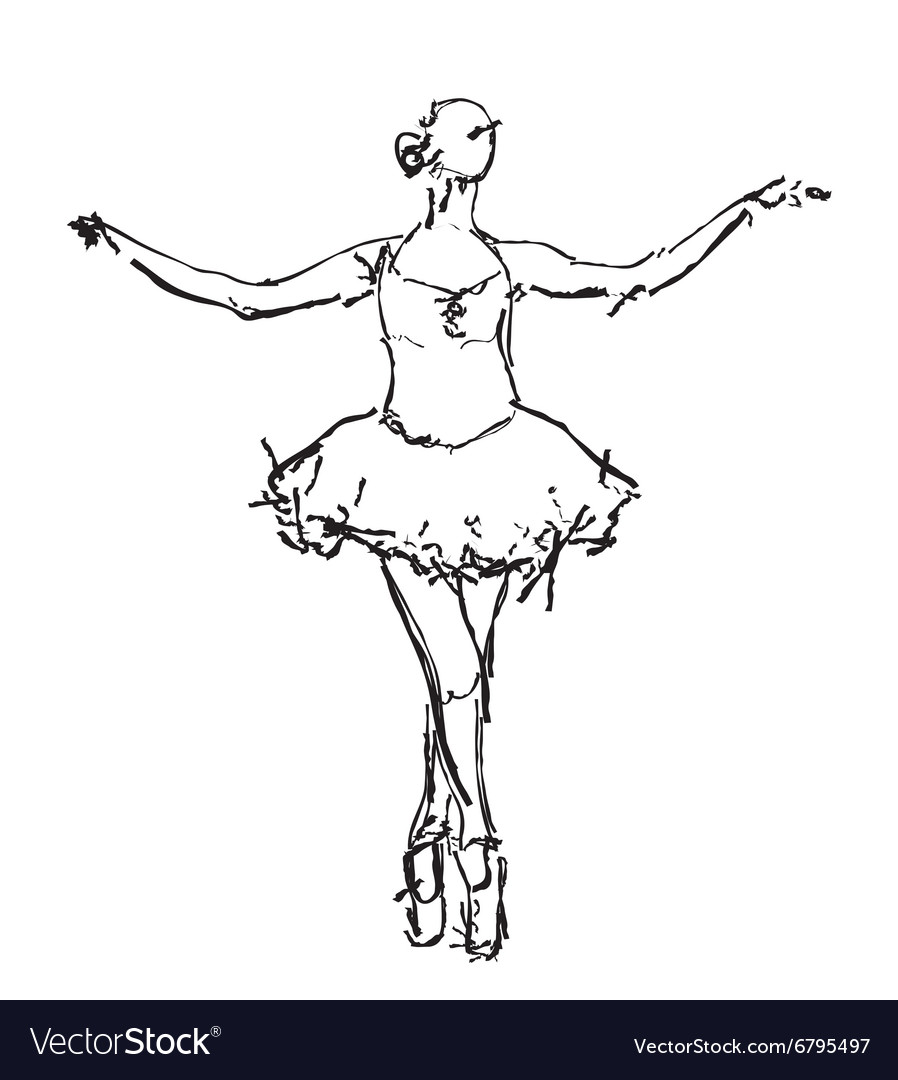 hand drawn ballerina dance royalty free vector image