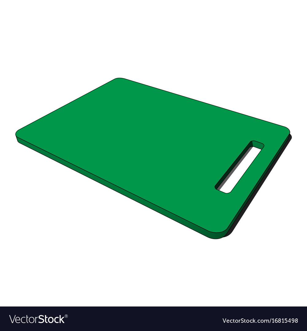 3d image - green plastic kitchen breadboard hole vector image