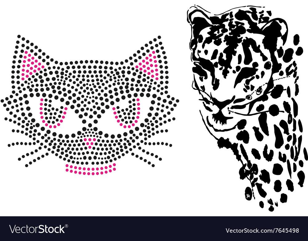 Cat cute tiger art design vector image