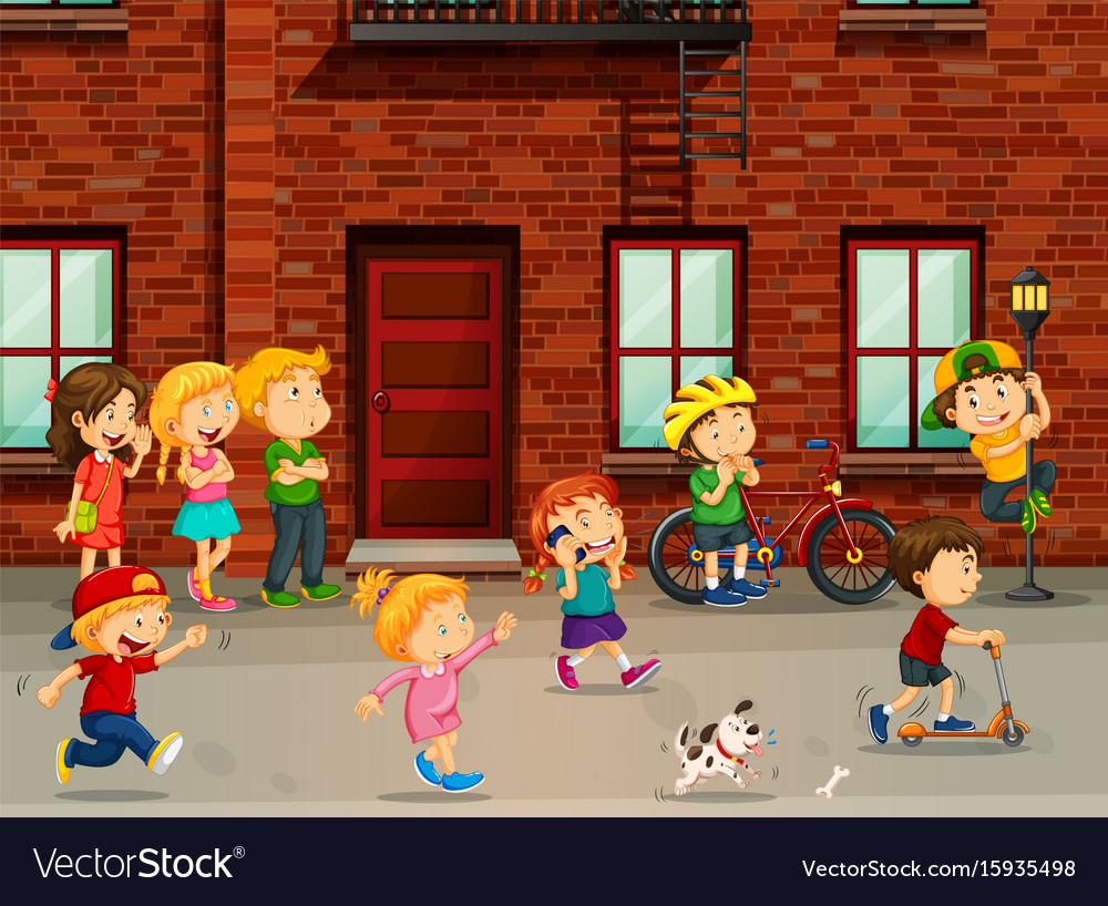Children playing on the road vector image