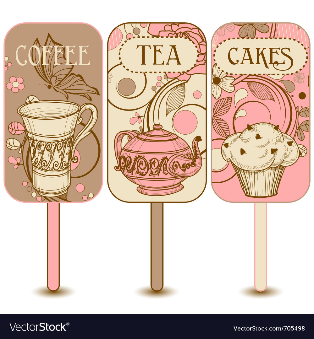 Coffee tea and cakes labels vector image