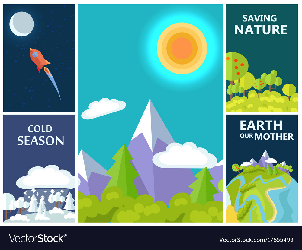 Saving nature mother earth and cold season set vector image