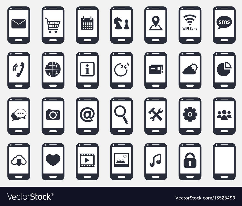 Smartphone icon set vector image
