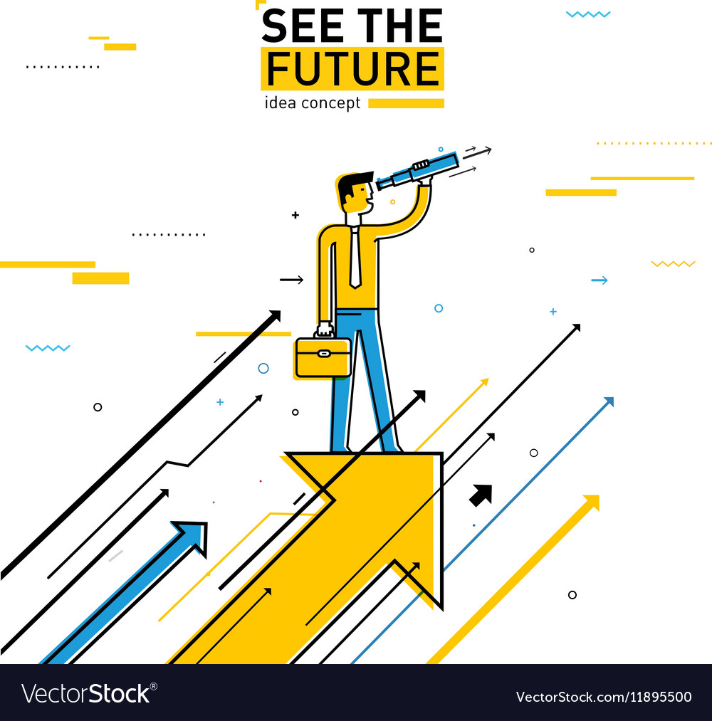Businessman with telescope looking to the future vector image