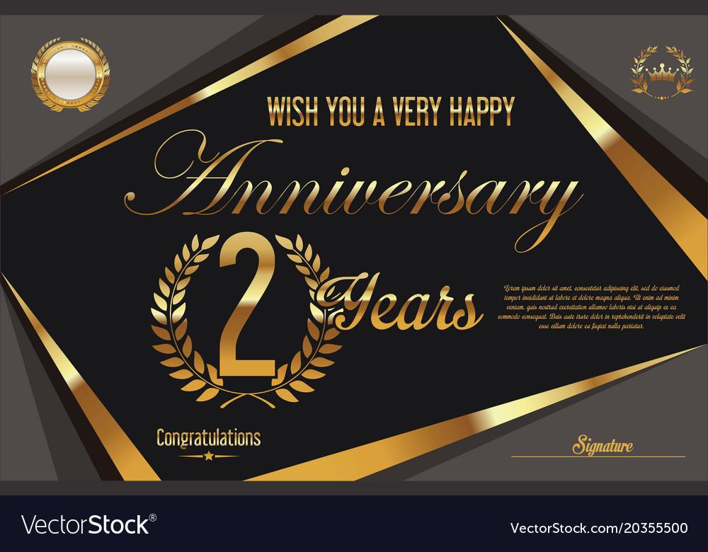 Retro vintage anniversary background 2 years vector image