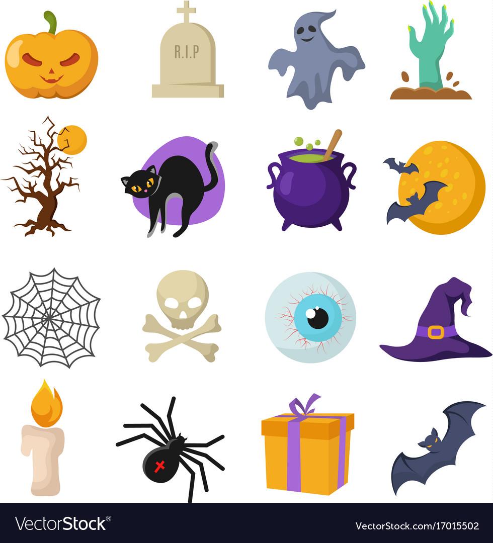Halloween cartoon cute characters Royalty Free Vector Image