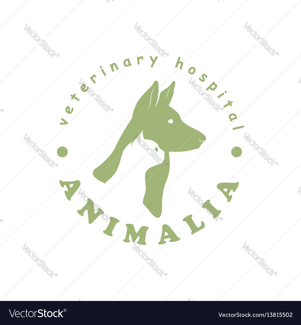 Logo for veterinary hospital with cat and dog vector image