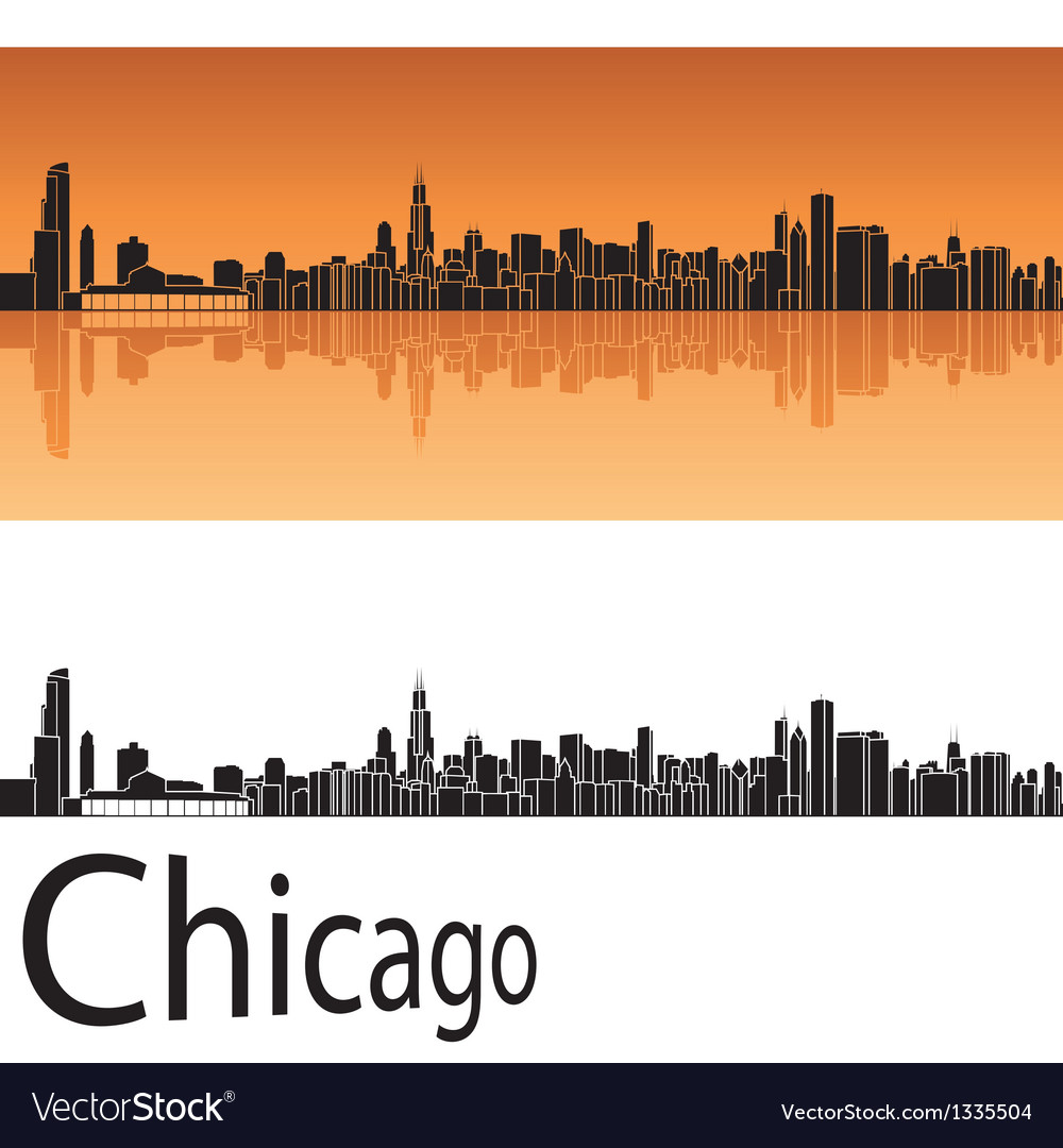 Chicago skyline in orange background vector image