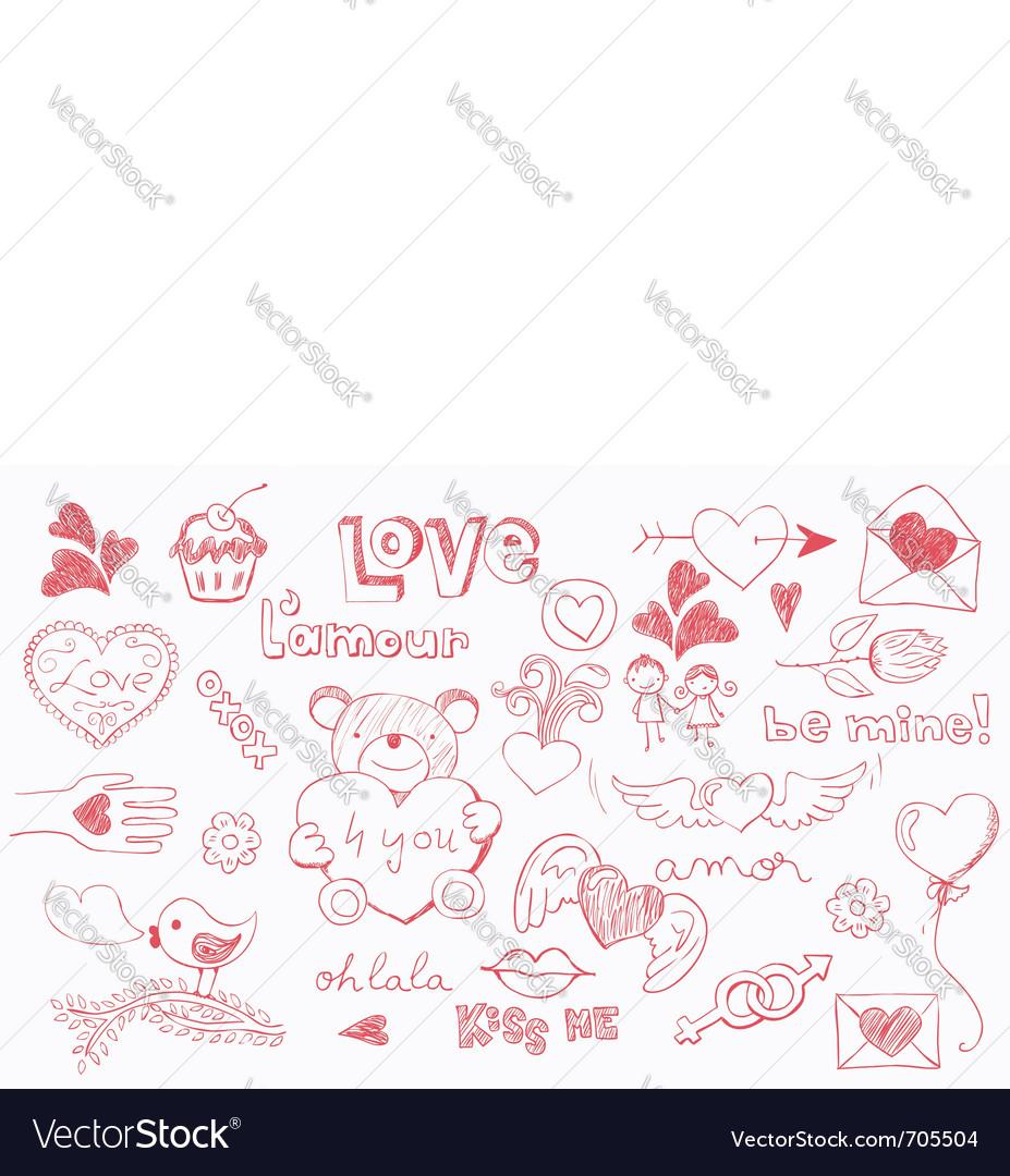 Love doodles vector image
