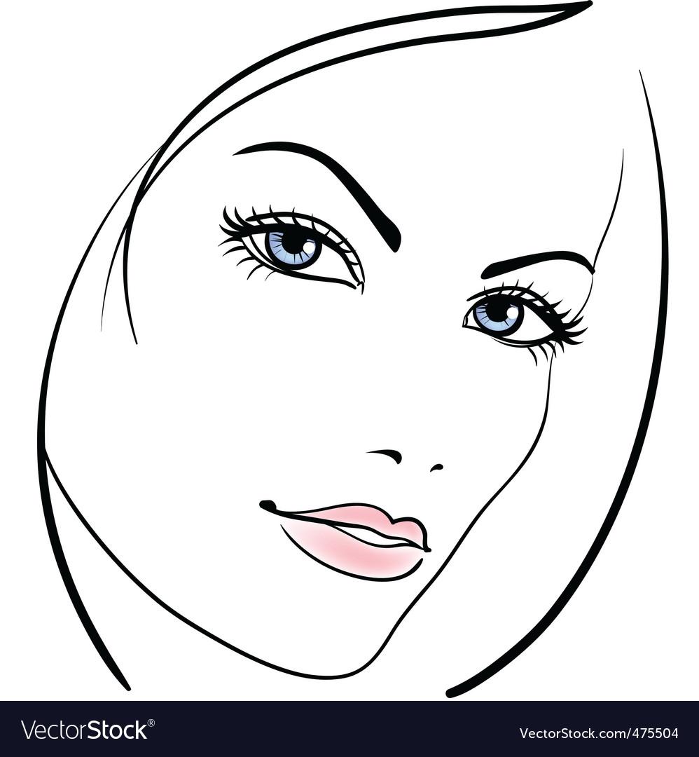 Beauty Girl Face Vector Icon Royalty Free Vector Image