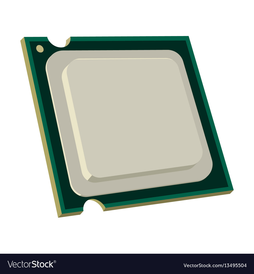 Central processing unit icon in cartoon style vector image