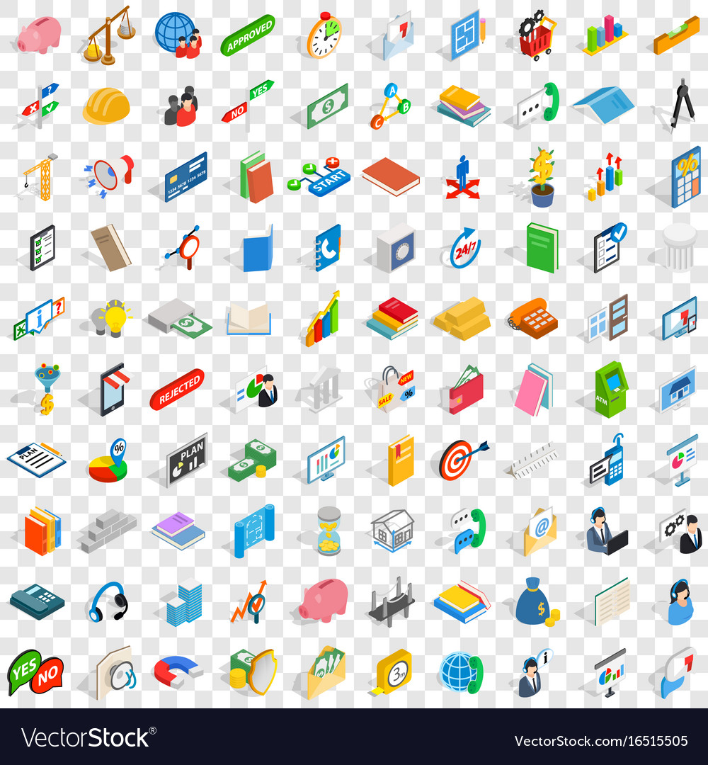 100 team icons set isometric 3d style vector image