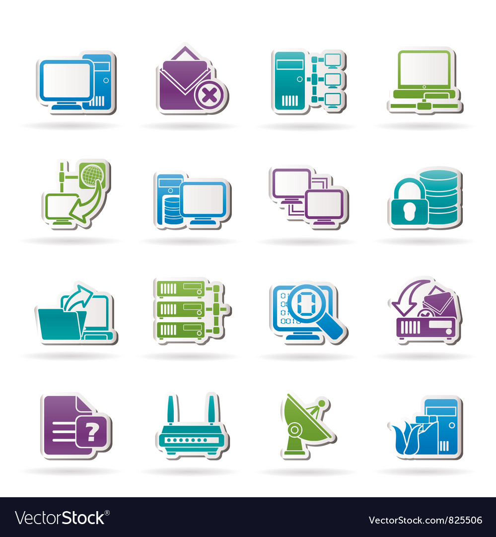Computer Network and internet icons vector image