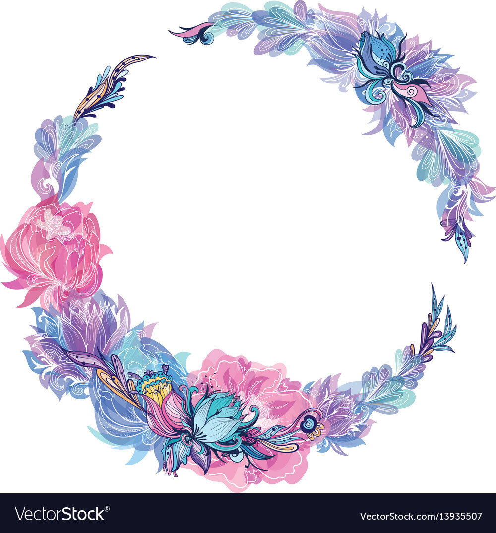Floral wreath in indigo and pink vector image
