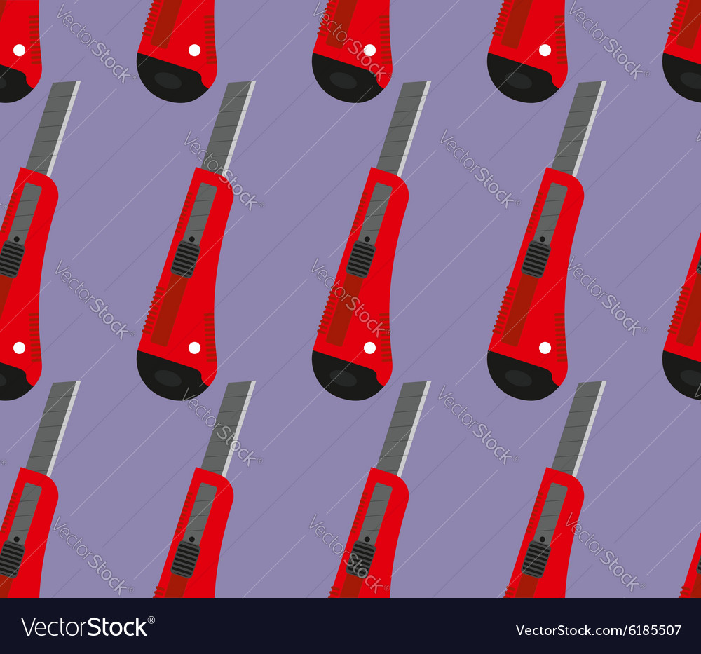 Office knife seamless pattern Office knife vector image