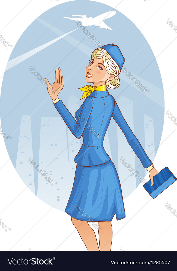 Young cheerful stewardess vector image