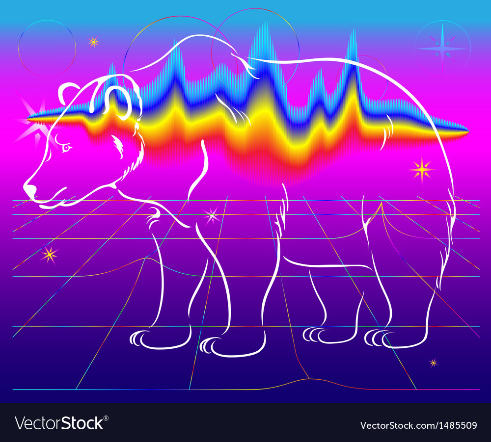 Bear northern lights vector image
