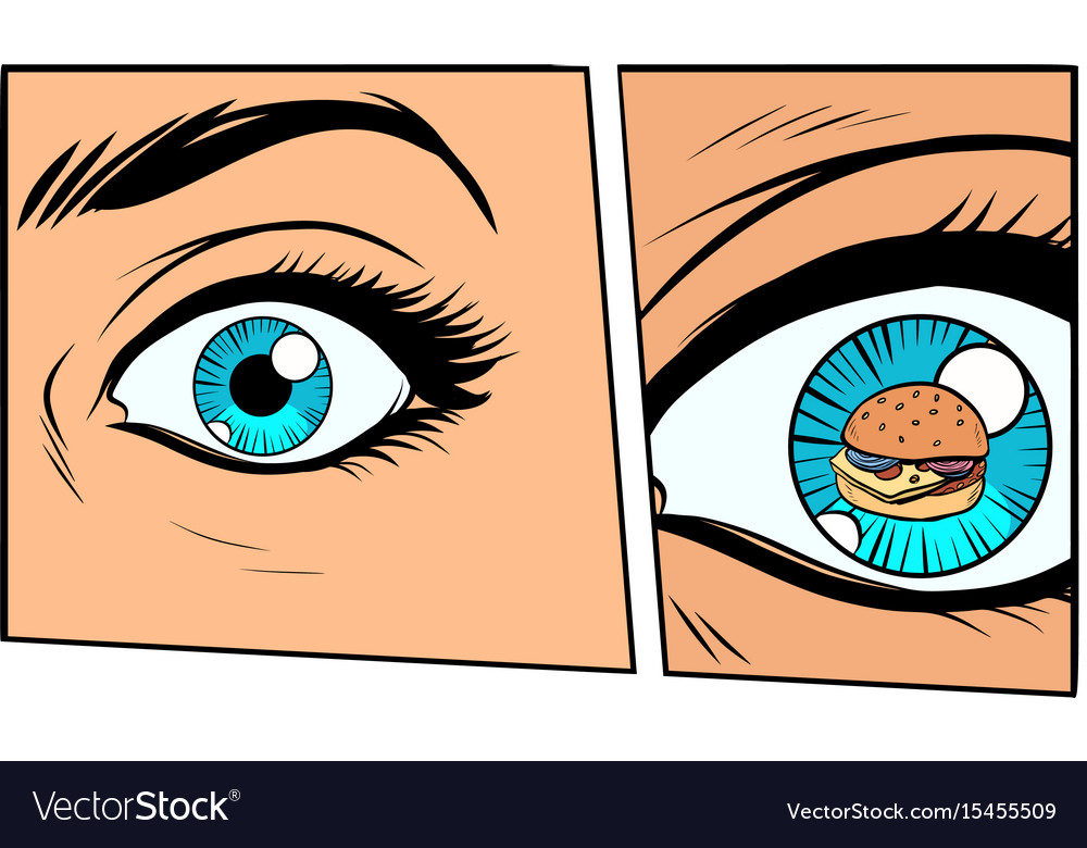 Comic Storyboard Hungry Woman And Burger Vector Image