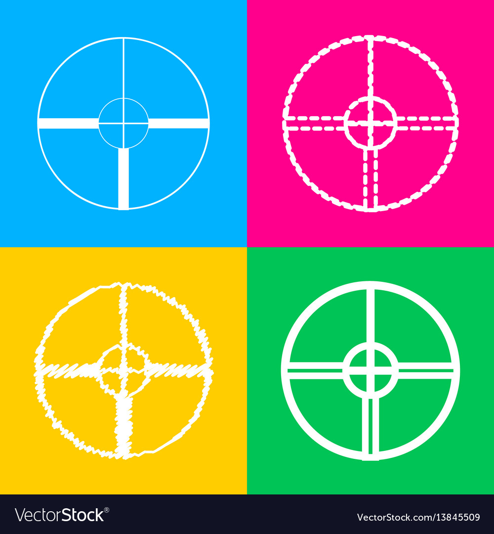 Sight sign four styles of icon on vector image