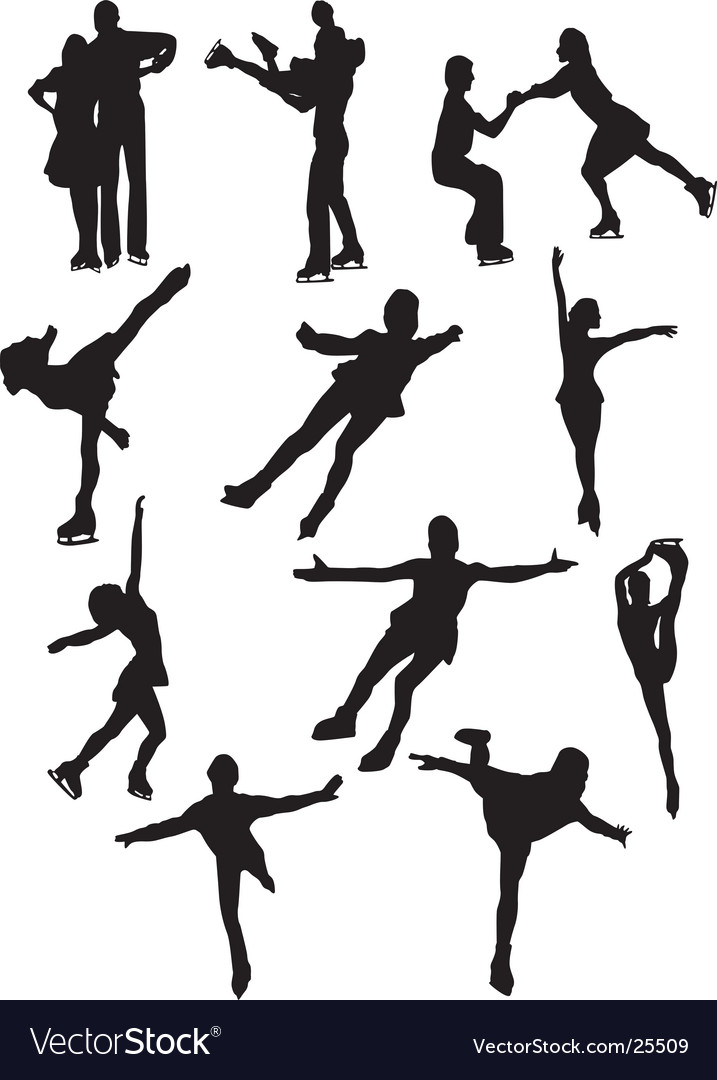 Silhouettes of figure skaters vector image
