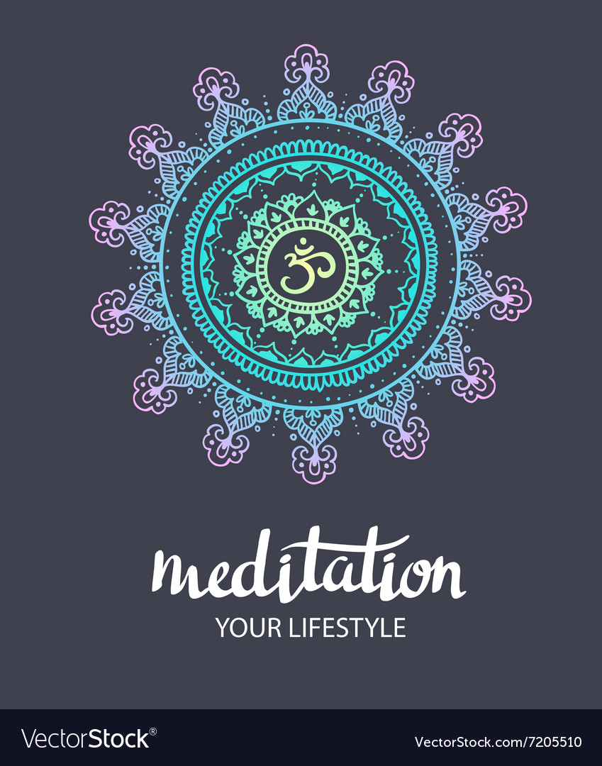 Mandala om Round Ornament Pattern Trance vector image
