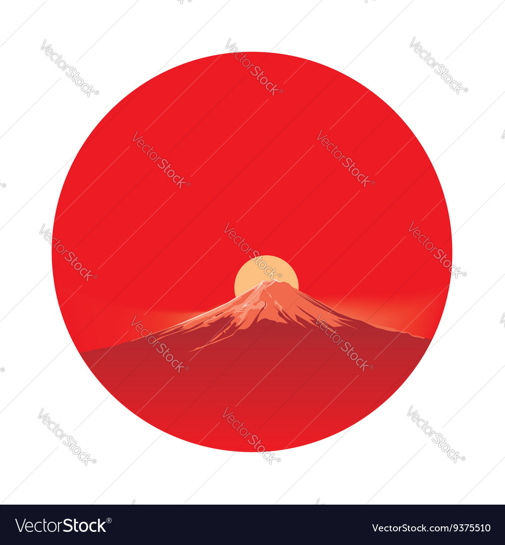 Fujiyama before sun in circle area vector image