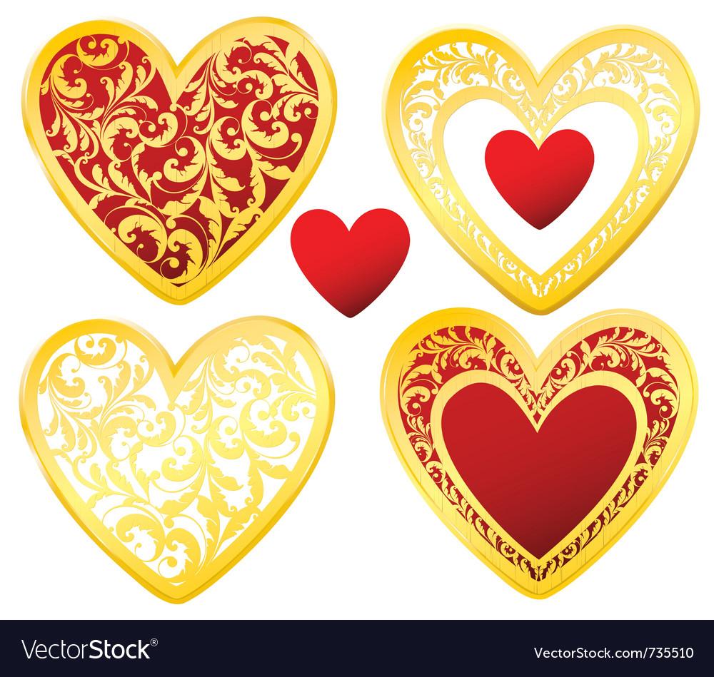 Heart floral golden vector image