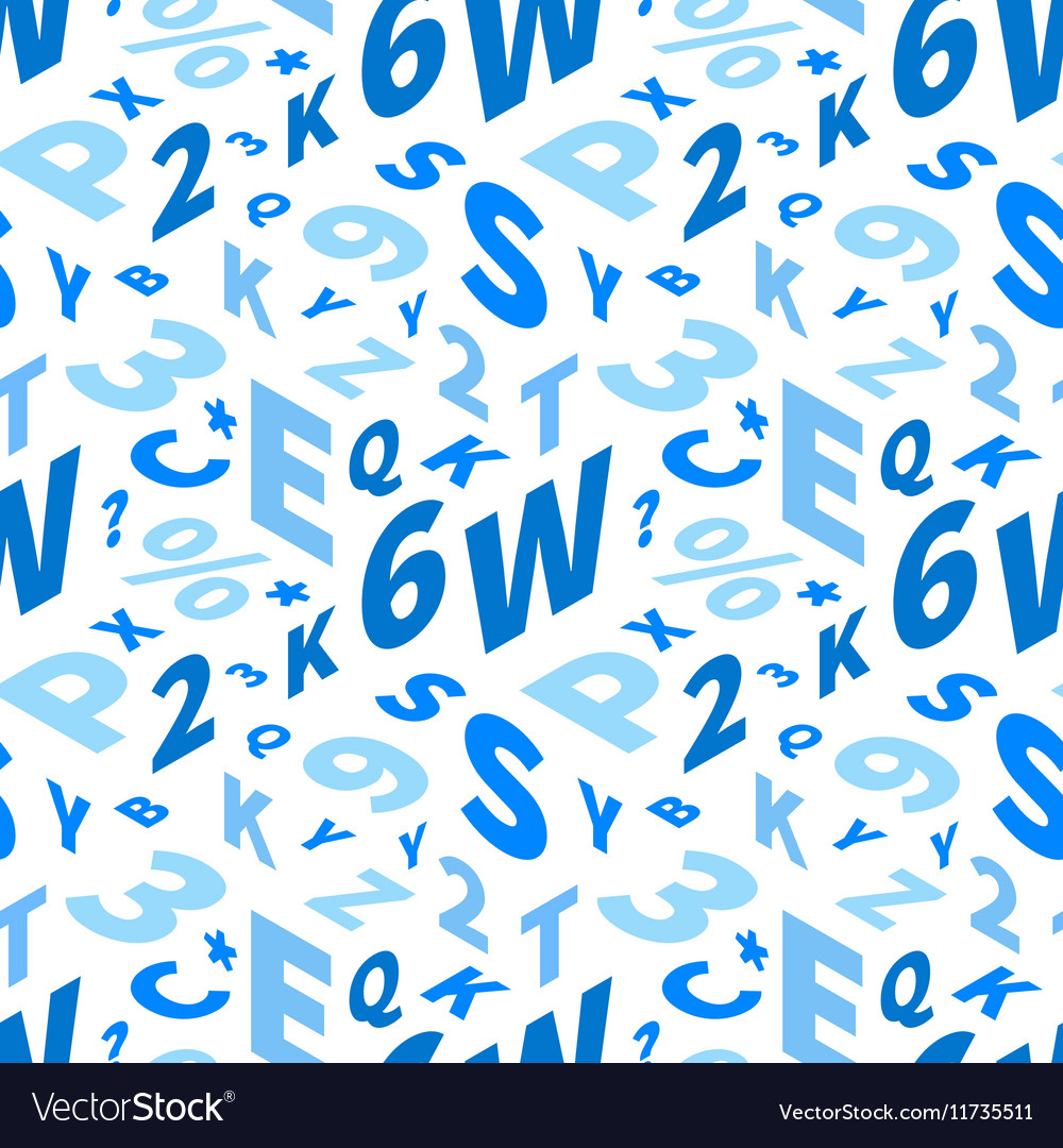 Blue letters in isometric projection on white vector image
