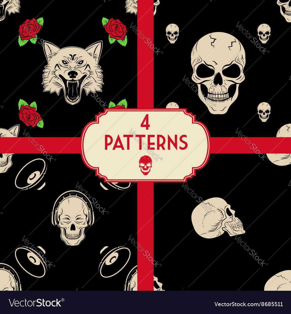 Skulls patterns set vector image